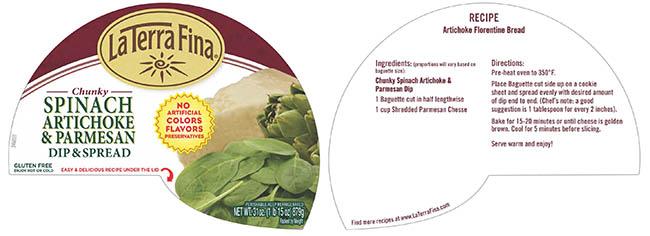 La Terra Fina Chunky Spinach Artichoke & Parmesan Dip & Spread, 31 oz., lid label