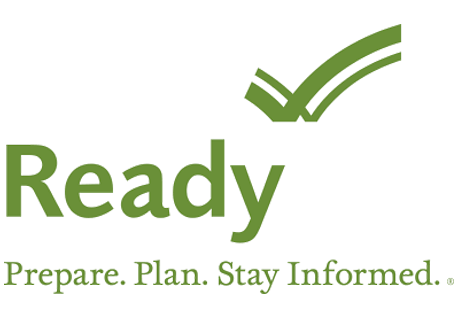 Green letters that read Ready. Prepare. Plan. Stay Informed. with green check mark