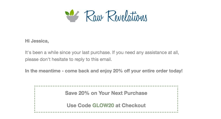 email from Raw Revelations stating it's been a while since last purchase and here's a coupon