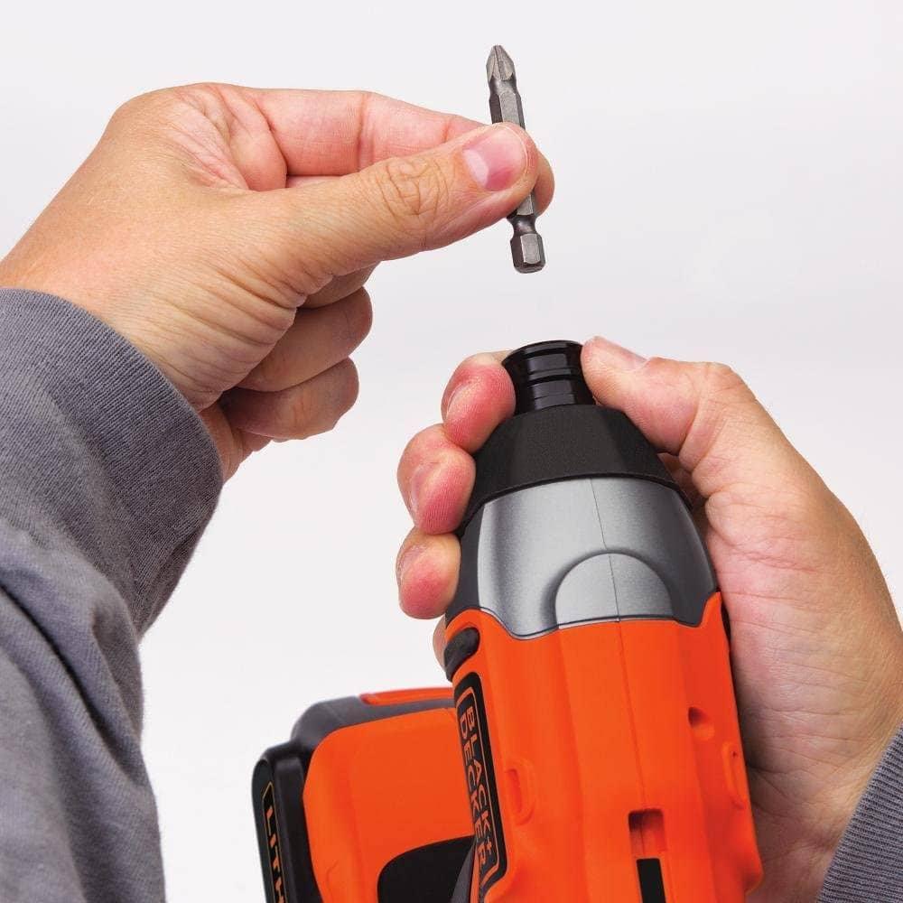 person attaching drill on BLACK+DECKER BDCI20C MAX Impact Driver