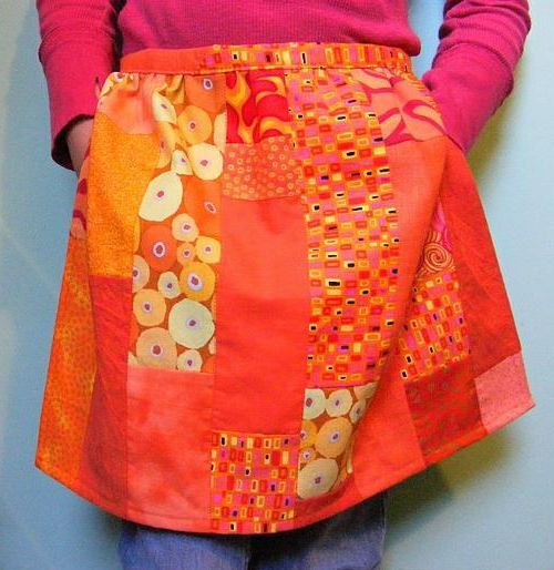 Orange Patchwork Skirt