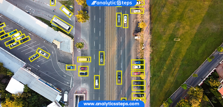 The image depicts object/target recognition used by a drone in combination with machine learning to recognize the vehicles.