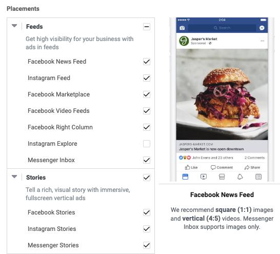 Plusieurs placements publicitaires sont disponibles sur Facebook Ads.