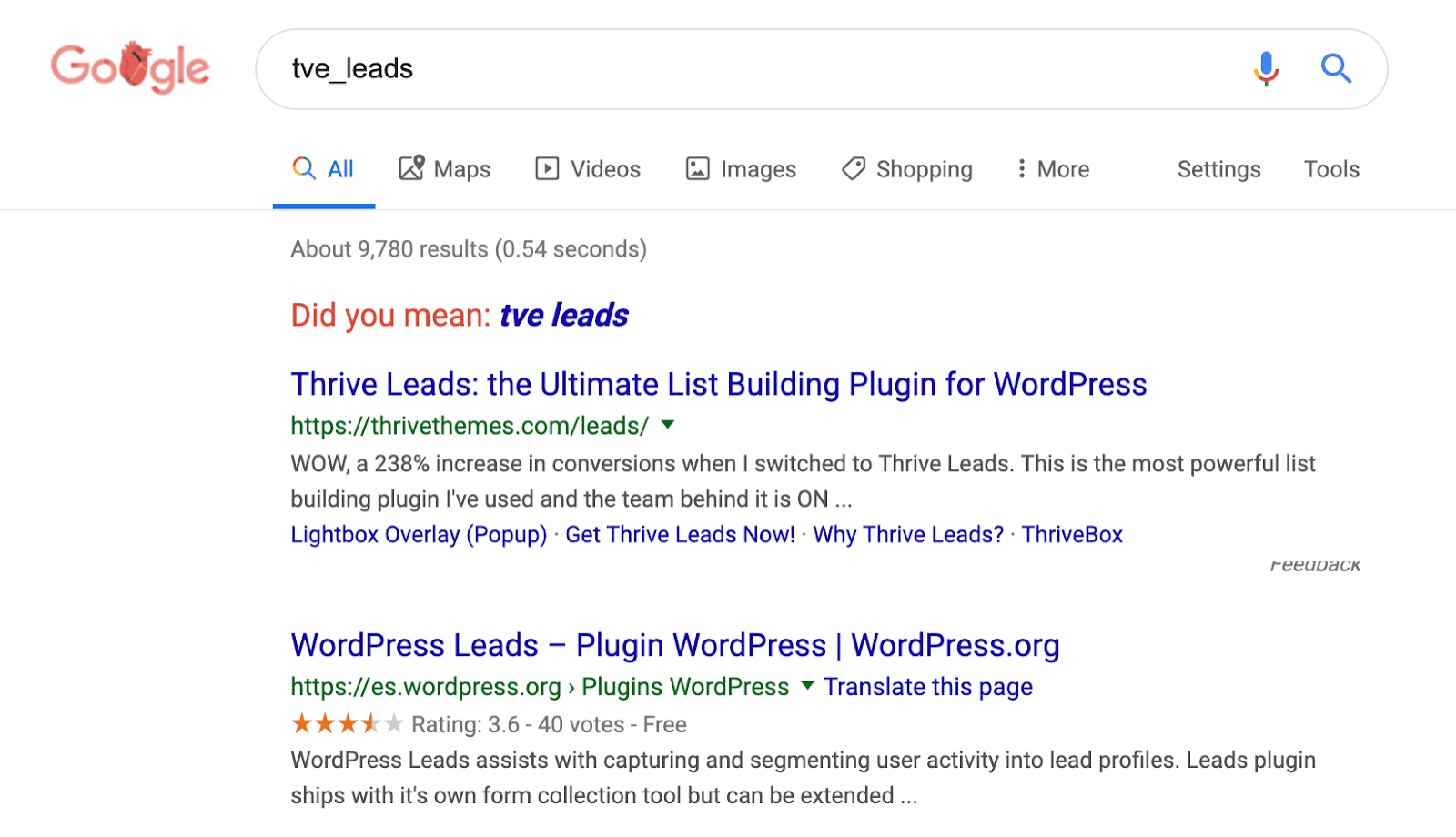 Google searches the WordPress table