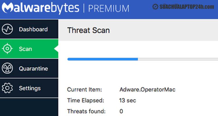Giao diện của Malwarebytes Anti-Malware