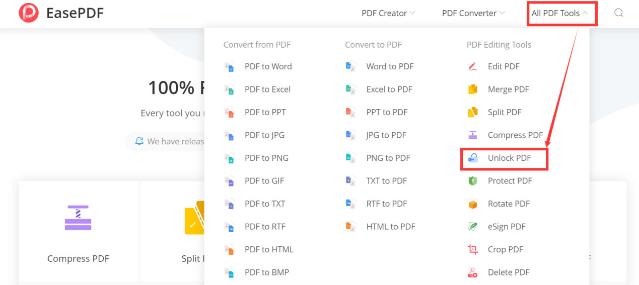 EasePDF Homepage All PDF Tools Unlock PDF