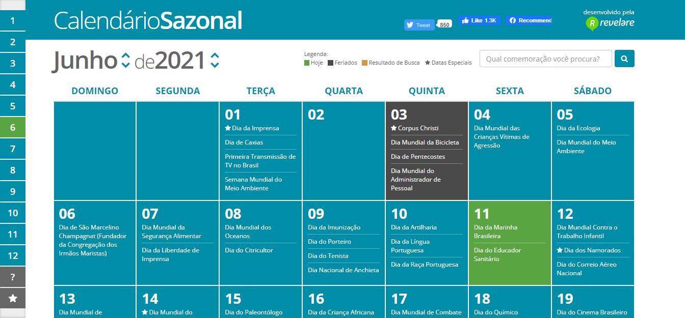 imagem do calendário de datas comemorativas para alavancar suas vendas - Blu Marketing Digital