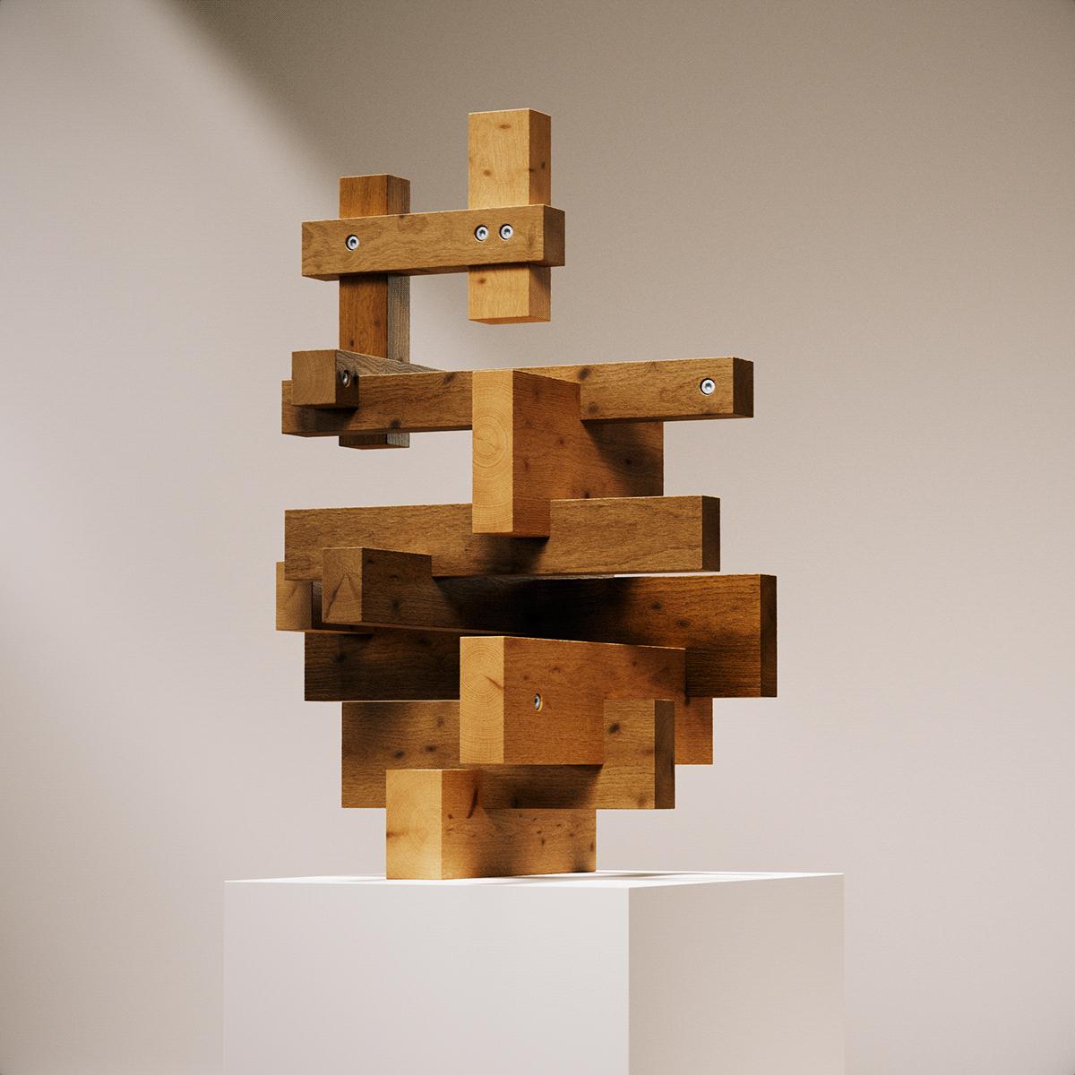 generative sculpture wood 3D art Render