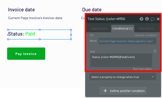 Updating the status of a Quickbooks invoice with Bubble's conditional text