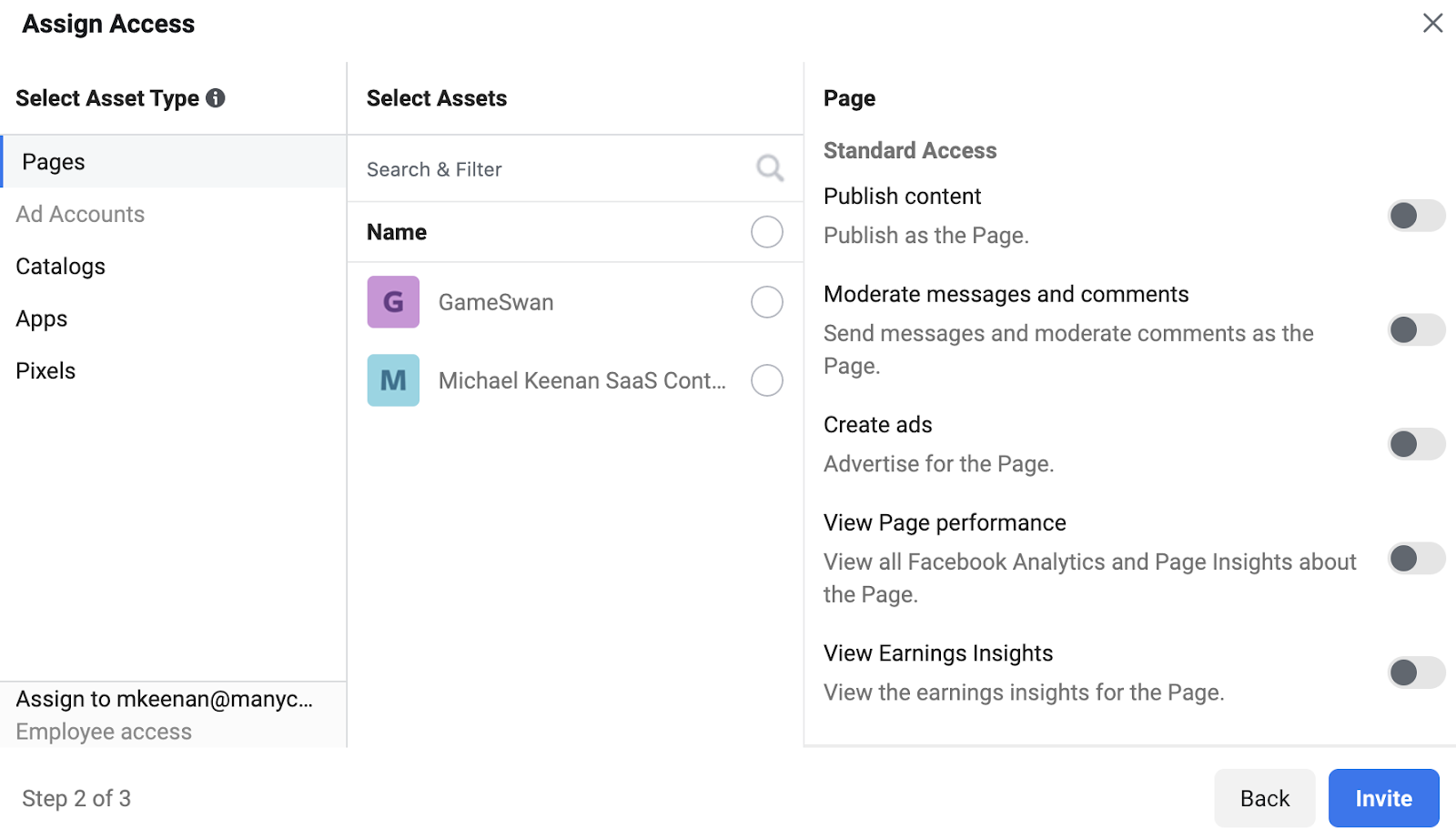 Adding user access to Facebook page