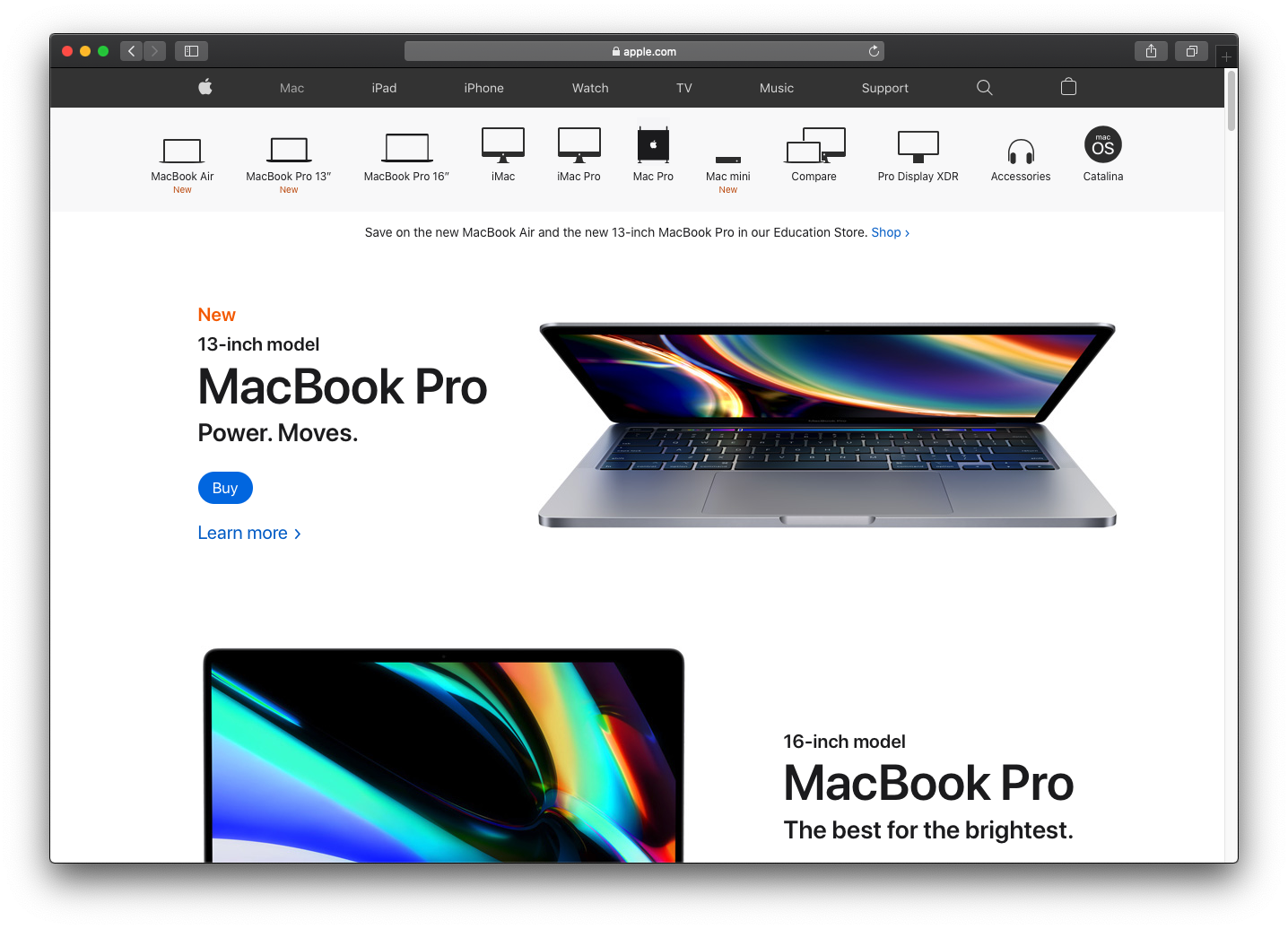 Apple's website leverages a taxonomy driven by product categories.
