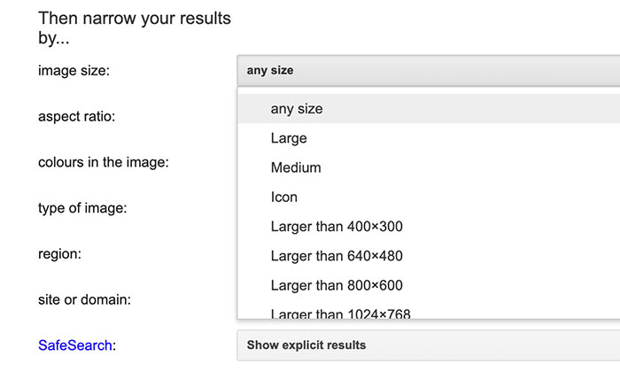 image size options on Google advanced image search
