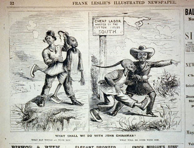 """A racist cartoon from the time period. The sign reads """"Cheap labor wanted in the cotton fields, south"""""""