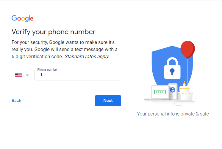 Google Verify your phone number