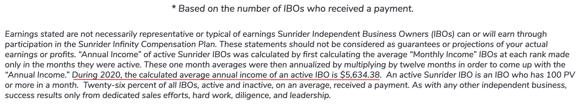 Sunrider's Average Annual Income is based active on IBOs only