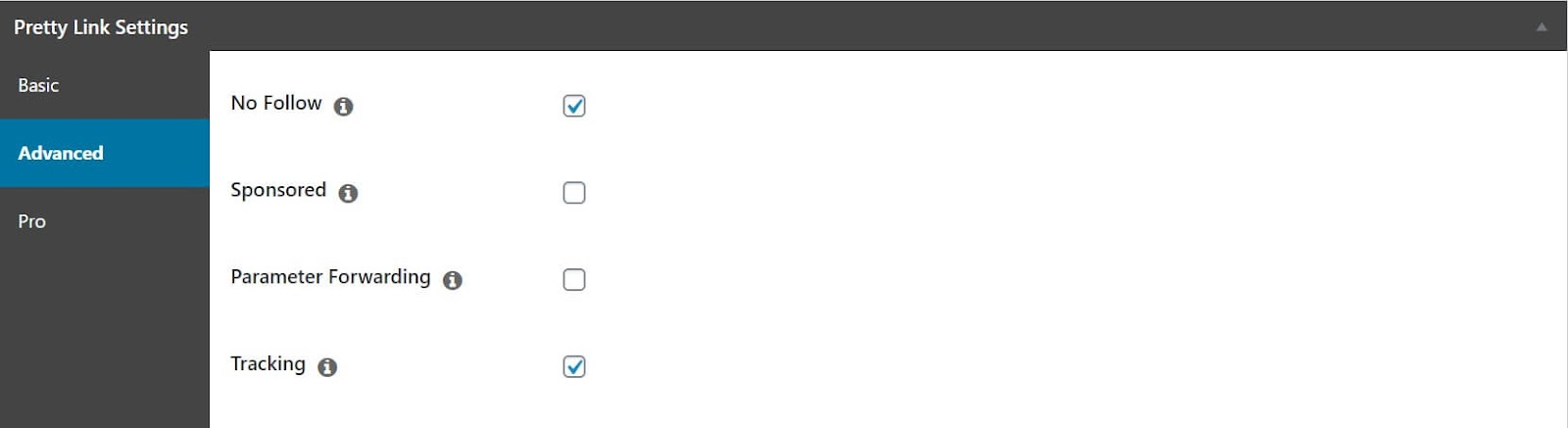 Screenshot of how to set shortlinks to nofollow in WordPress