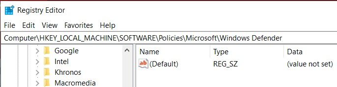 The Microsoft Defender or Windows Defender location in the Registry Editor