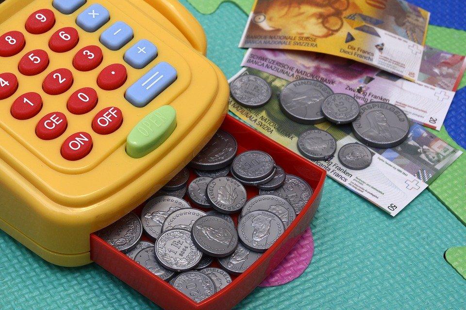 玩具キャッシュの登録, 再生, お金, プラスチック, キー, お支払い, 収集, コイン, カラフル, 色