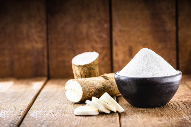 Tapioca starch is made from cassava flour which can be used also in food in substitute for cornstarch.