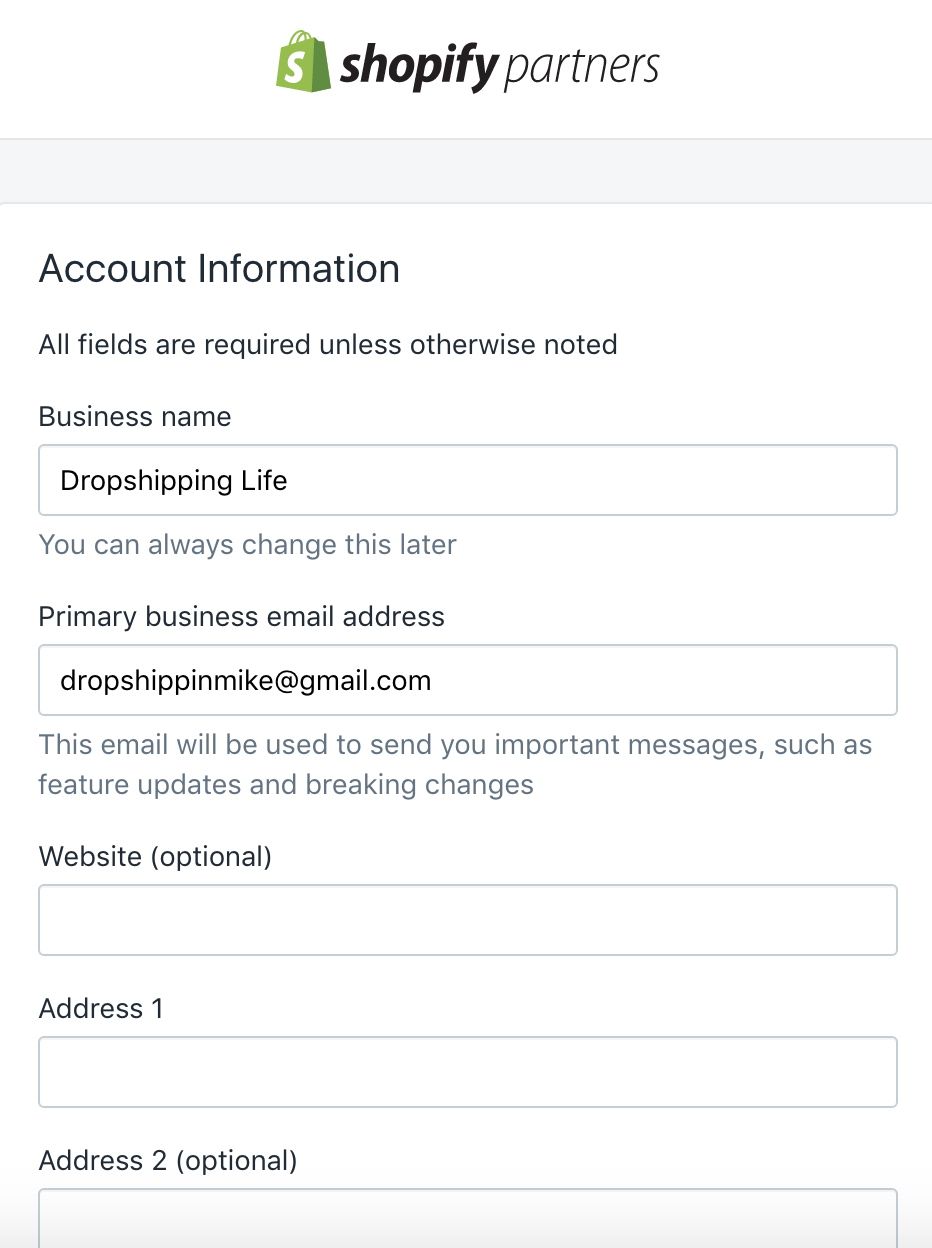 Filling out form for Partners Account