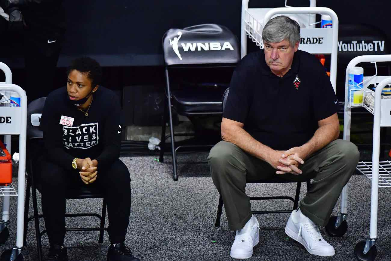 PALMETTO, FLORIDA - OCTOBER 06: Assistant coach Tanisha Wright and Head Coach Bill Laimbeer of the Las Vegas Aces looks on during the second half of Game 3 of the WNBA Finals against the Seattle Storm at Feld Entertainment Center on October 06, 2020 in Palmetto, Florida. (Photo by Julio Aguilar/Getty Images)