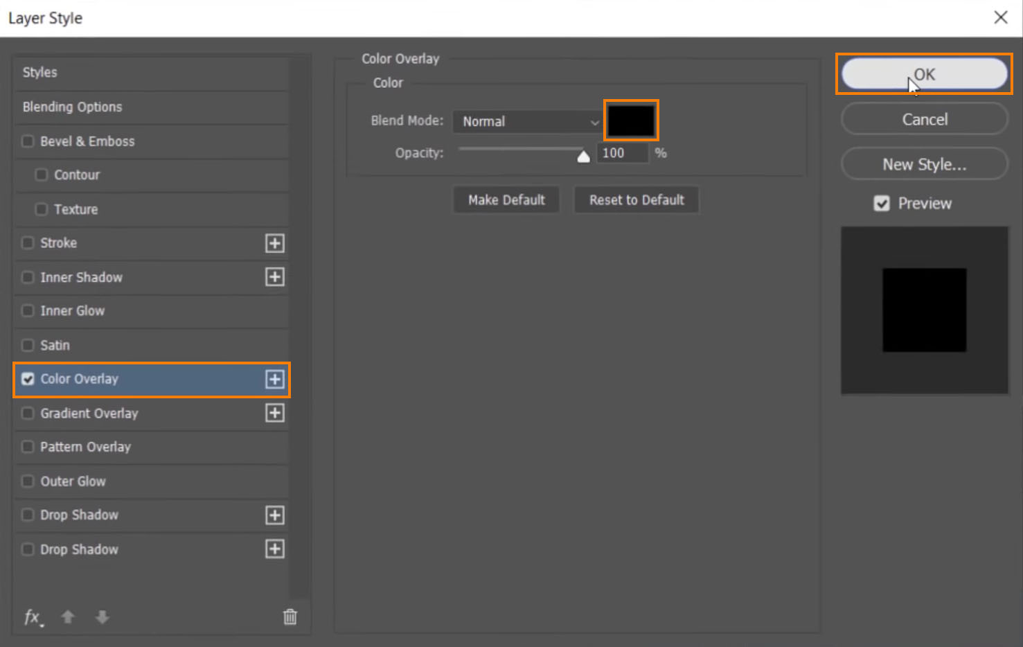 Click on Color Overlay, set the color to black, and press OK