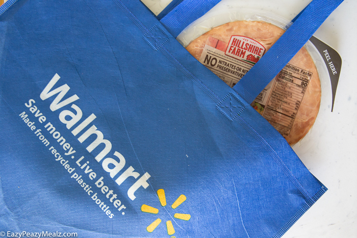 Walmart bag with ham in it