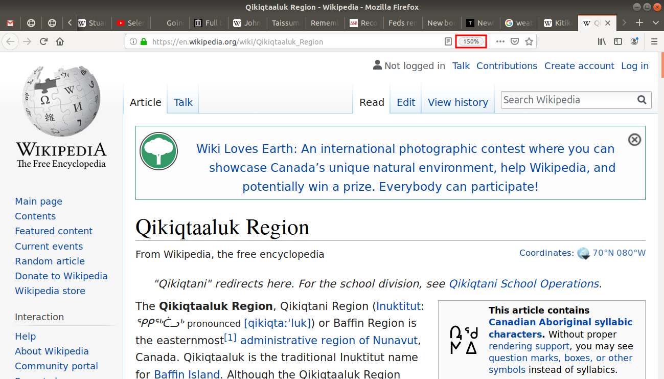 150% zoom in on Qikiqtaaluk Region Wikipedia page