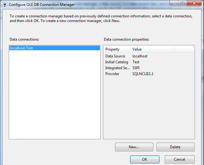 Configure OLE DB Connection Manager