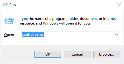 Open CP from the Run Dialog box