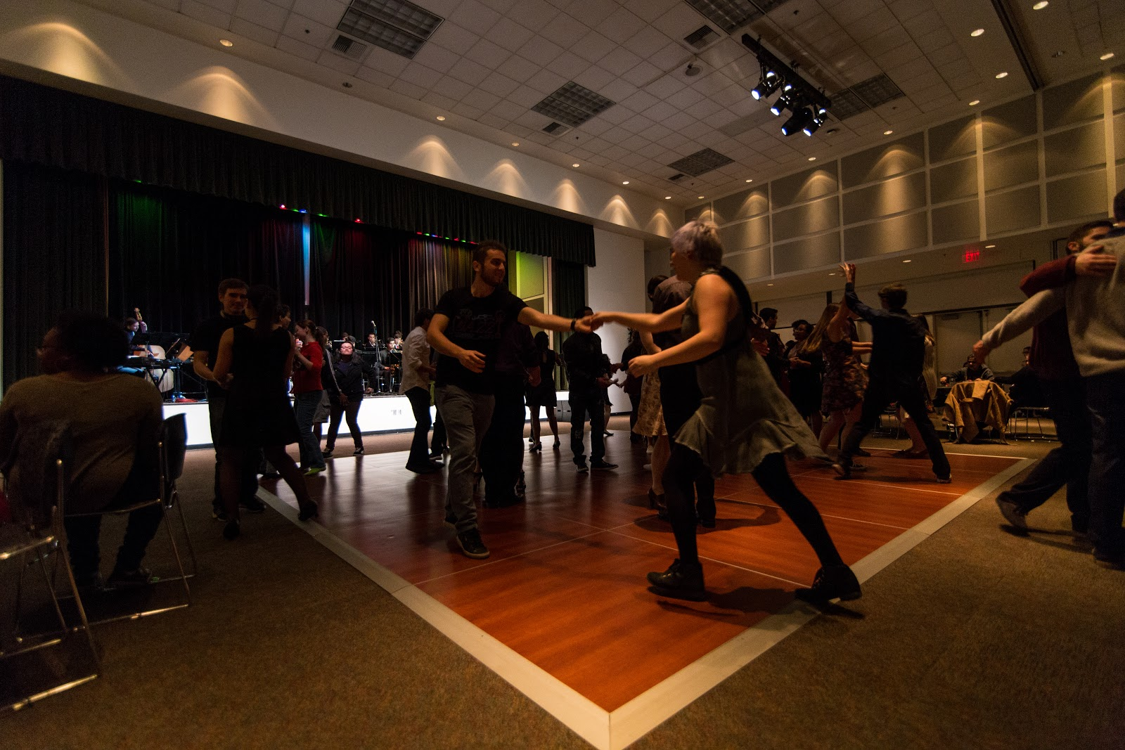 group of students learning to swing dance