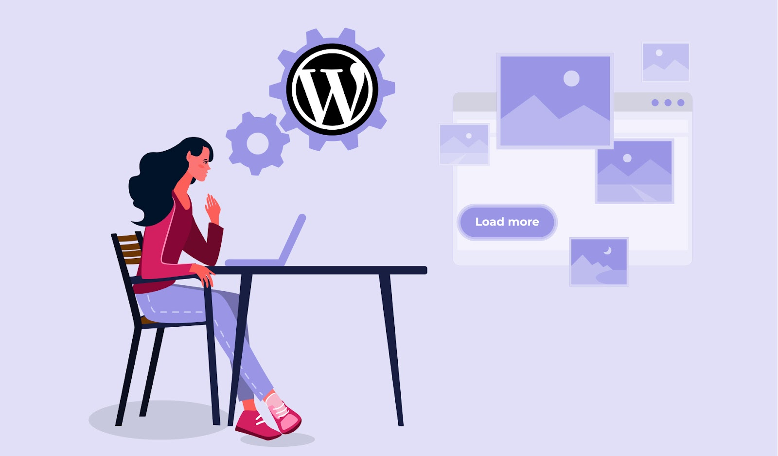 Illustration showing a person working at a laptop to make a WordPress website