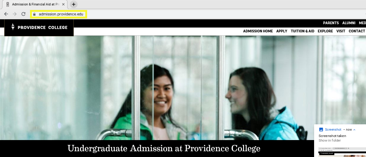 Screenshot of Providence college website homepage with the URL highlighted