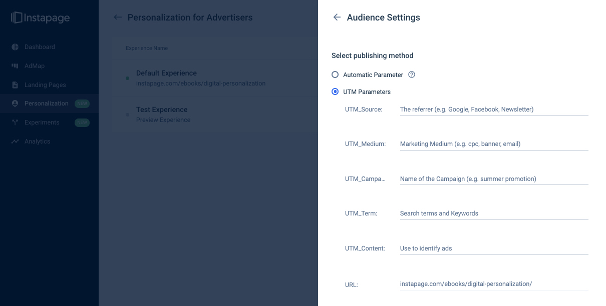 Personalization with Instapage