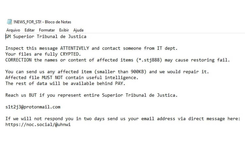 bloco de notas deixada por hacker