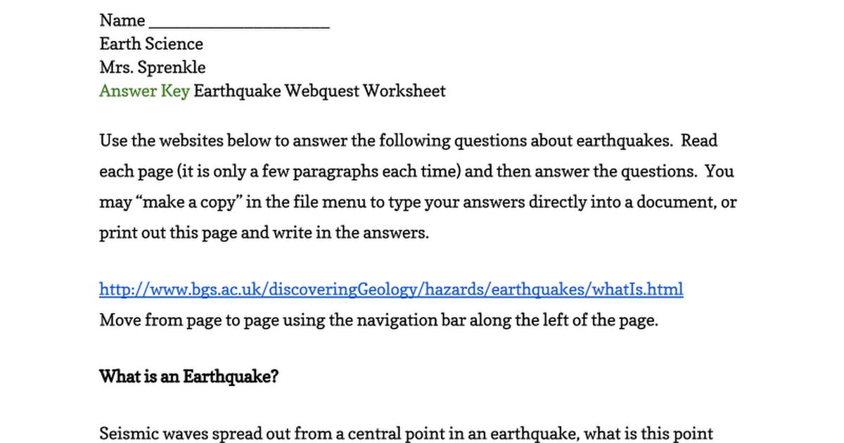 Answer Key Earthquake Webquest Worksheet Google Docs – Seismic Waves Worksheet
