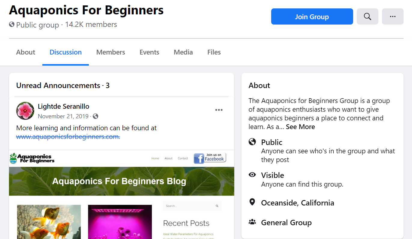 Facebook Group example