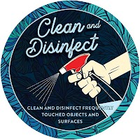 "9"" Blue Circle - Clean & Disinfect"