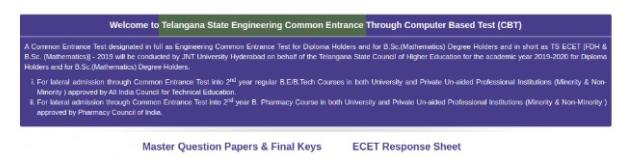 TS ECET 2021 Answer Key
