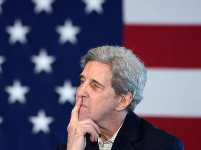 CEDAR RAPIDS, IOWA - DECEMBER 06: former Democratic presidential candidate John Kerry listens as Democratic presidential candidate former U.S. Vice president Joe Biden speaks during a campaign event December 6, 2019 in Cedar Rapids, Iowa. Kerry announced his endorsement of Biden yesterday with the Iowa caucuses less than two months …