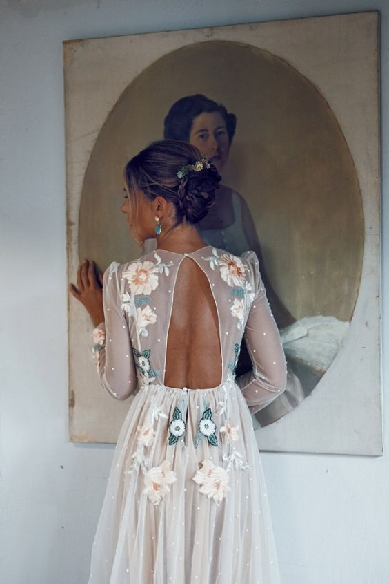floral boho wedding dress