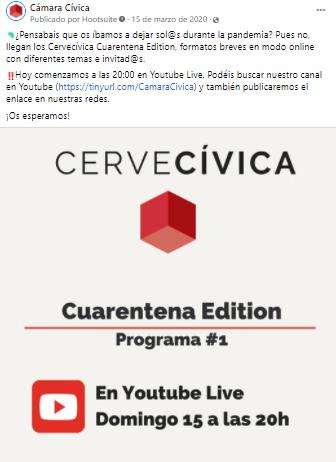 Publicación en Facebook con la convocatoria del primer Cervecívica Online