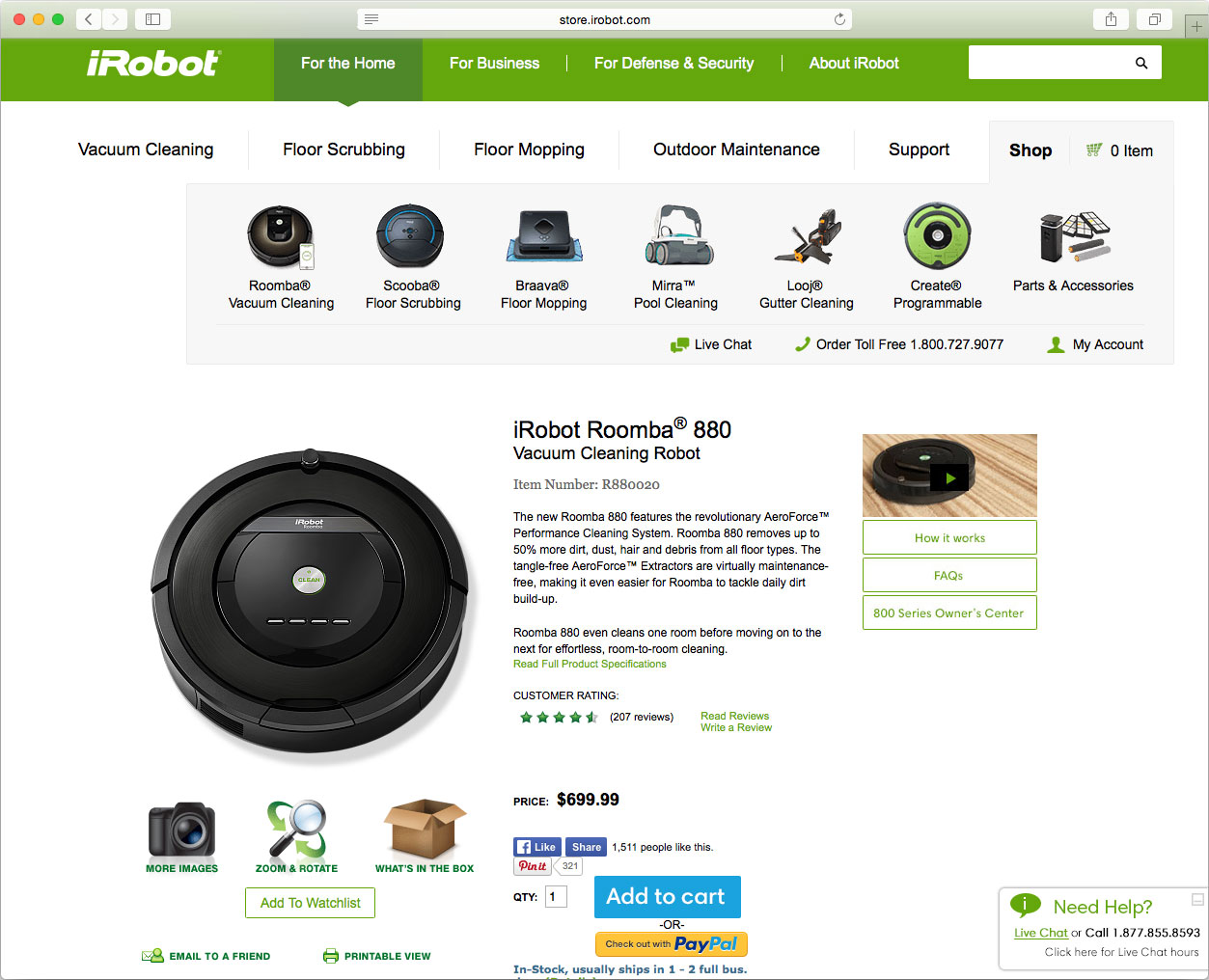 An iRobot product page