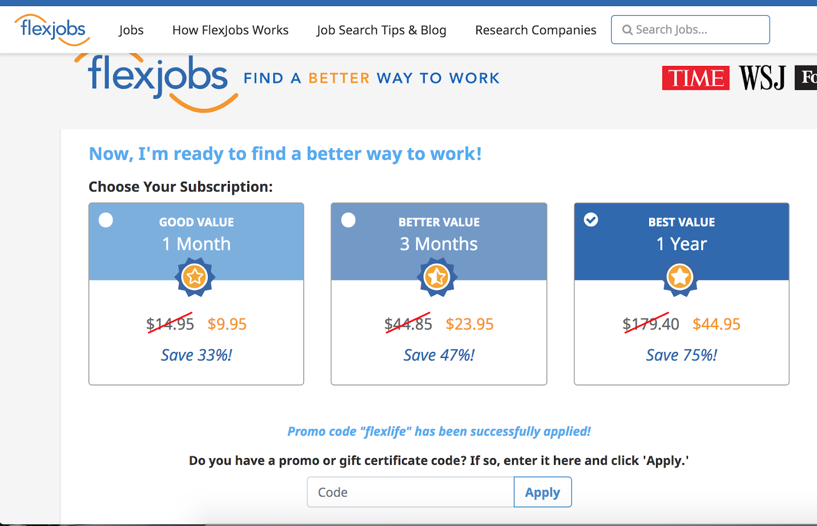 shows price page of flexjobs website.