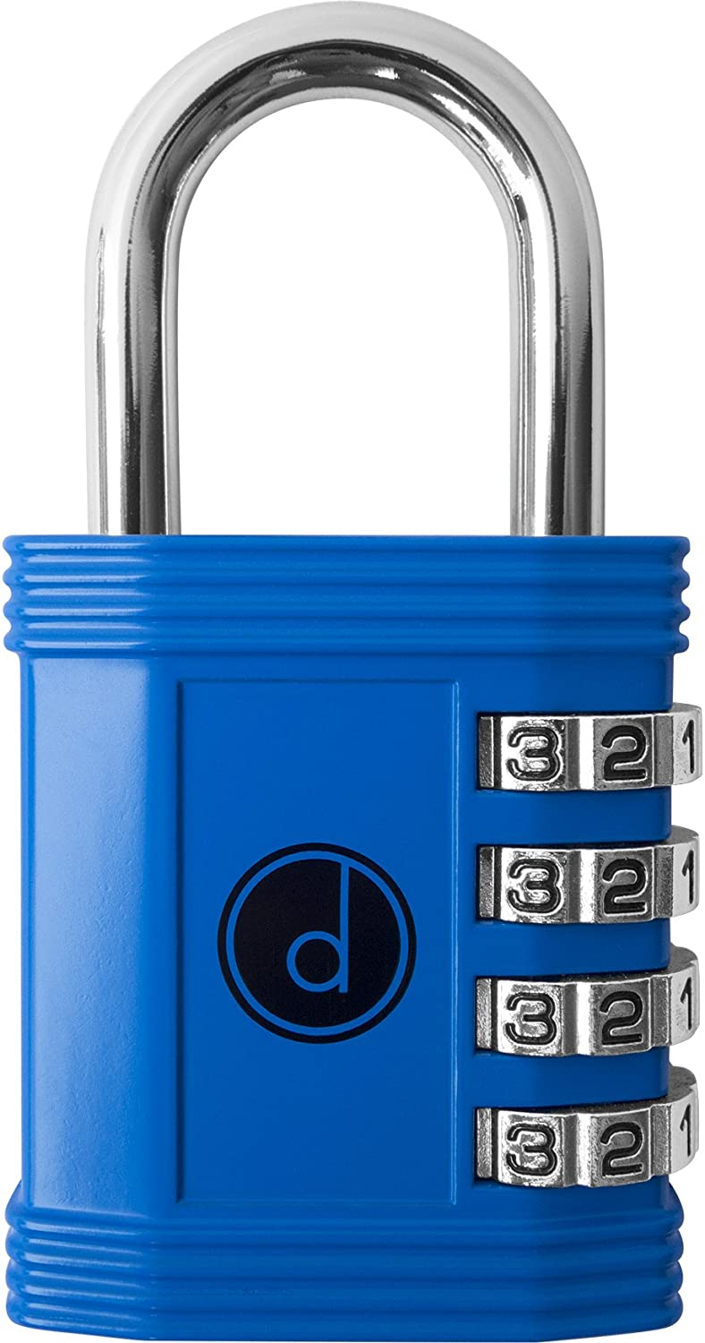A blue combination lock with numbers.