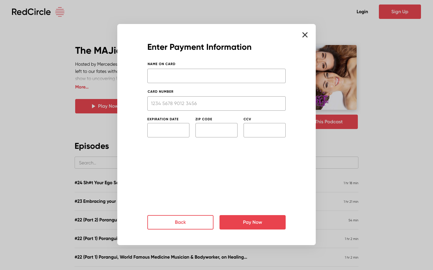 Payment information modal