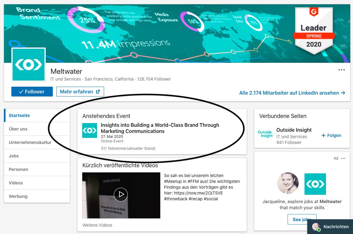 Ansicht eines anstehenden Online-Events auf der Unternehmensseite bei LinkedIn