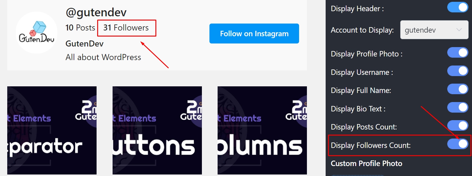 Display followers count