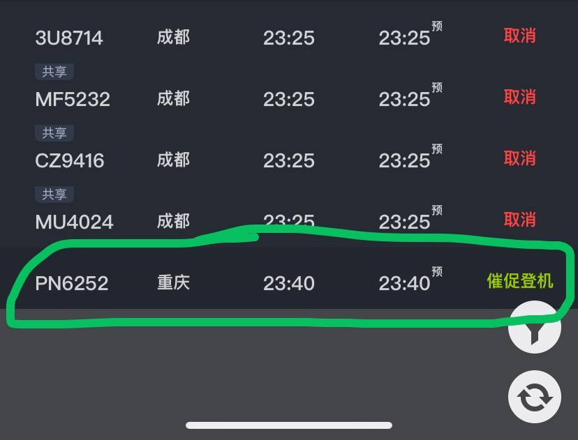 Alt Text: Screenshot of flight timing board showing all flights in red - they have been cancelled except for the last flight to Chongqing.