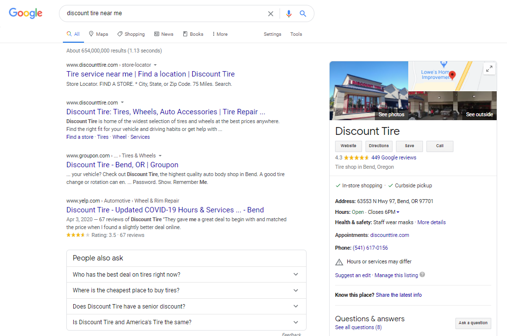 """screenshot of a search engine results page for """"discount tire near me"""""""